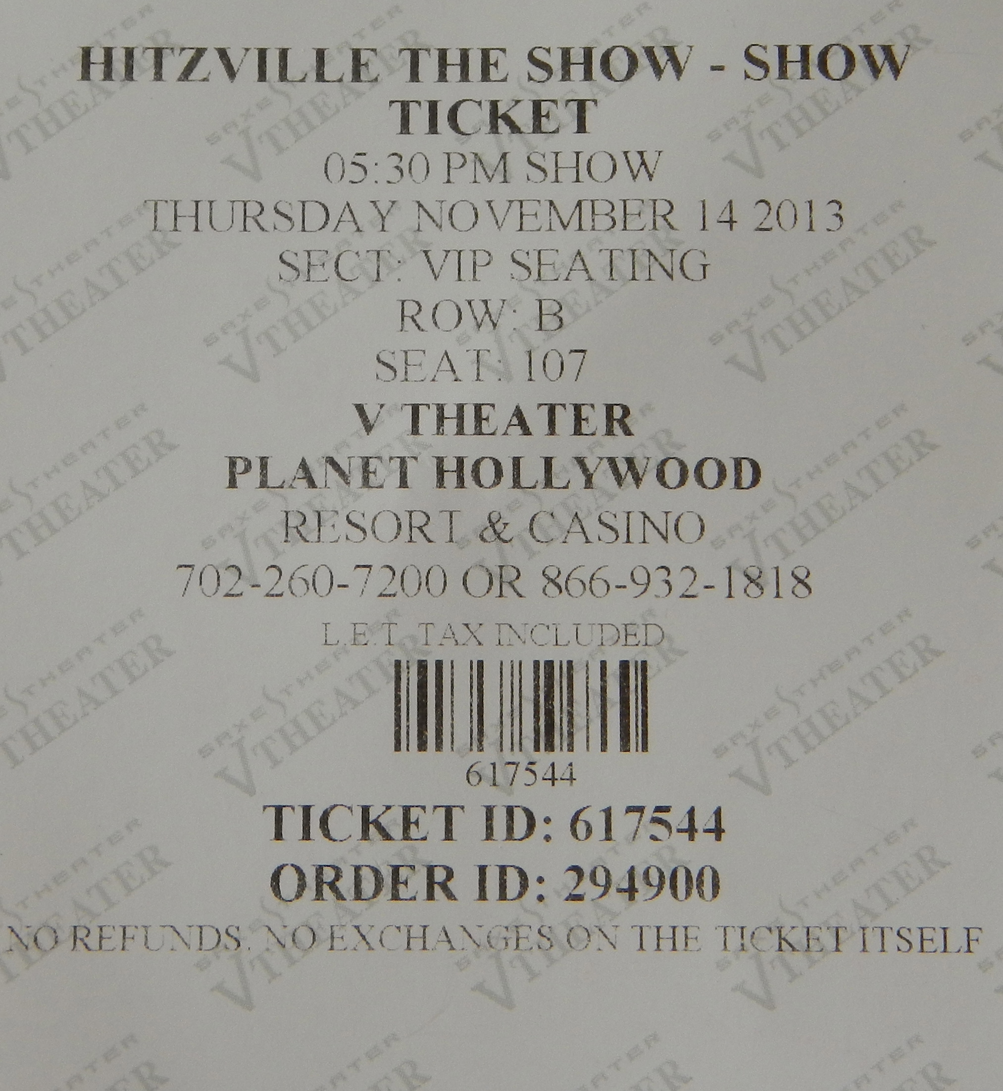Hitzville Show Ticket