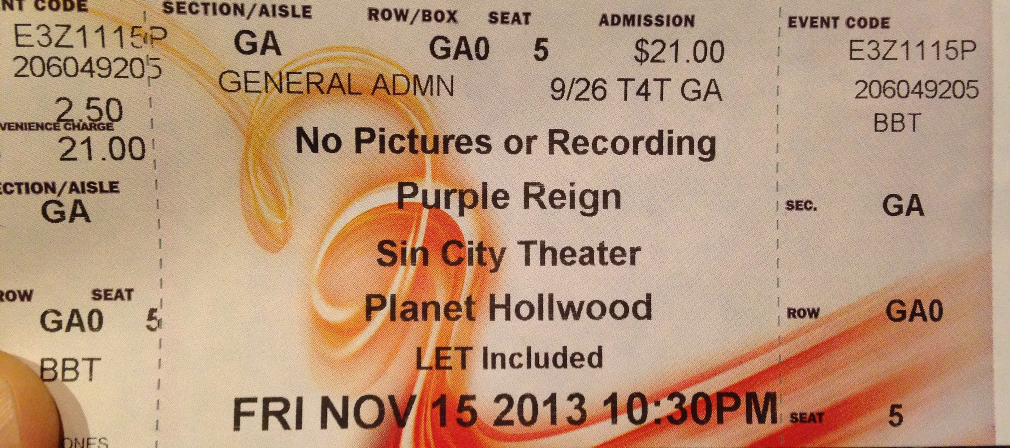 Purple Reign Ticket