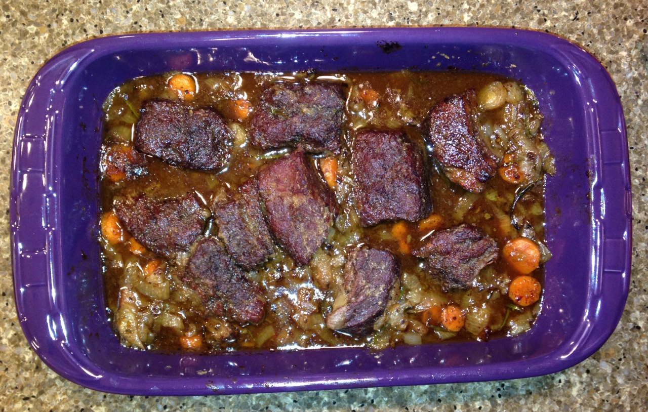 Braised Short Ribs - Cooked.  Boy were they good.