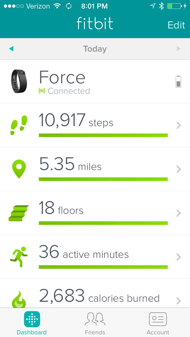 My Fitbit stats for today - 7-Dec-2013