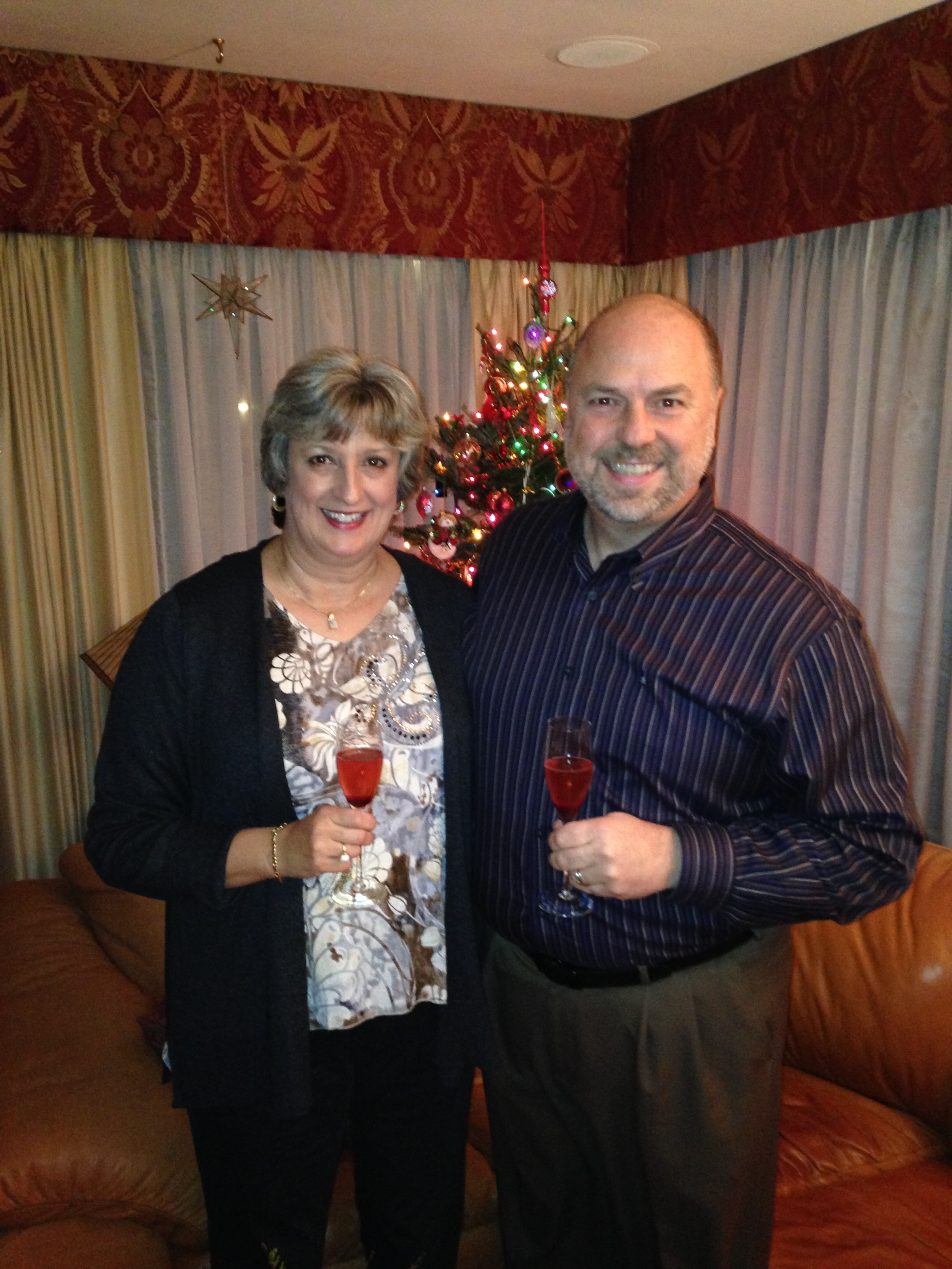 No food pics, but here's a picture of Nancy and I - Kurt K's Christmas Dinner Party - December 2013
