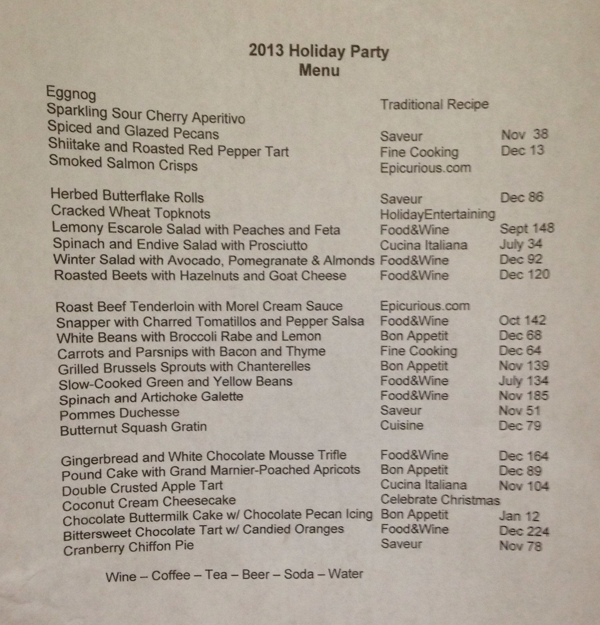 Kurt's 2013 Dinner Party Menu