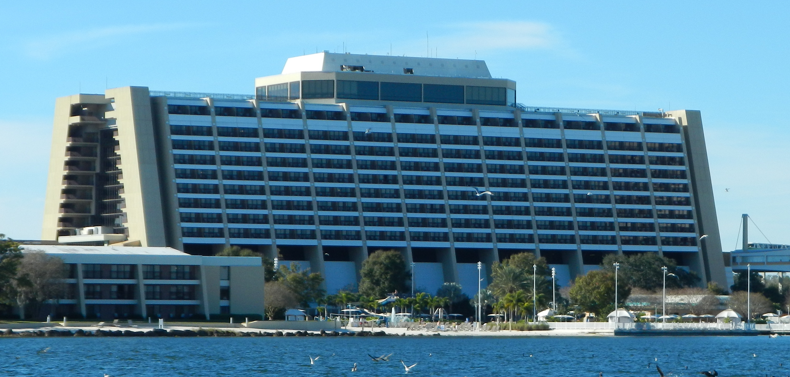 This was our view of the Contemporary Resort from our boat ride to the Magic Kingdom.