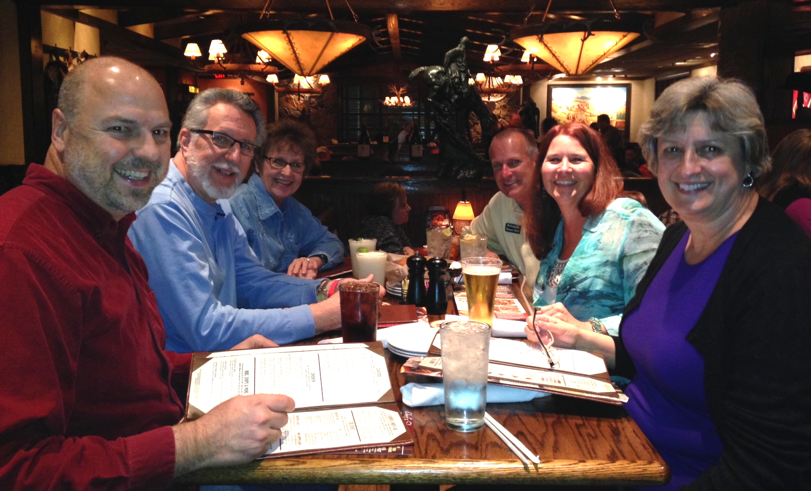 Dinner tonight at Longhorn Steakhouse in Pigeon Forge, TN - Nancy and I, Ken and Faye H and Howard and Linda P.