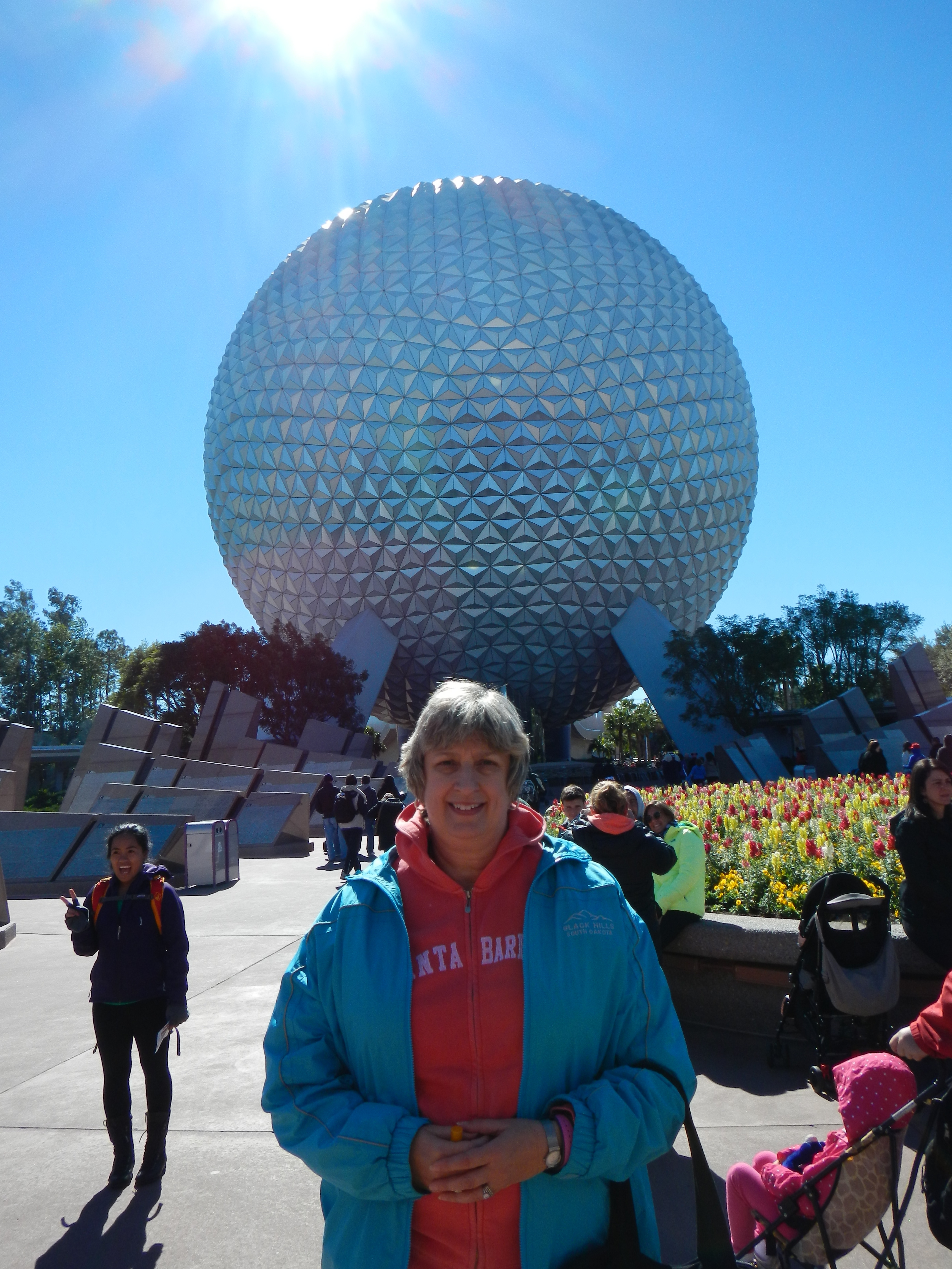 Epcot - Nancy in front of Spaceship Earth