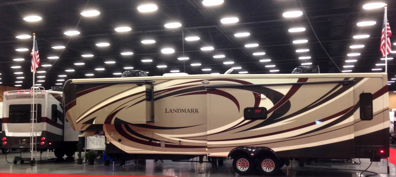 There are 3 Heartland Landmarks on display at the Smoky Mountain RV Show in the RVs For Less display.