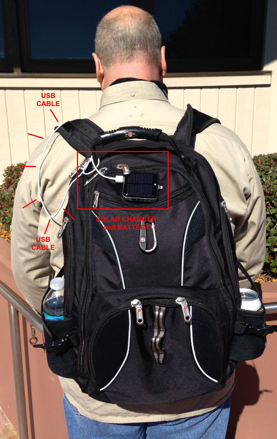 Here's the solar charging battery back, mounted with Velcro to the backpack.