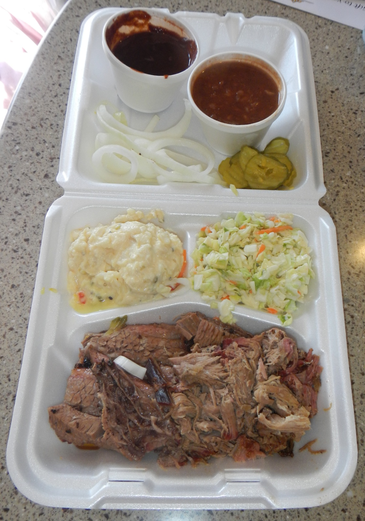 Here's the 3 meat plate.  I got Brisket, Brisket and Pulled Pork.  They also gave us ribs to sample.  Yum!