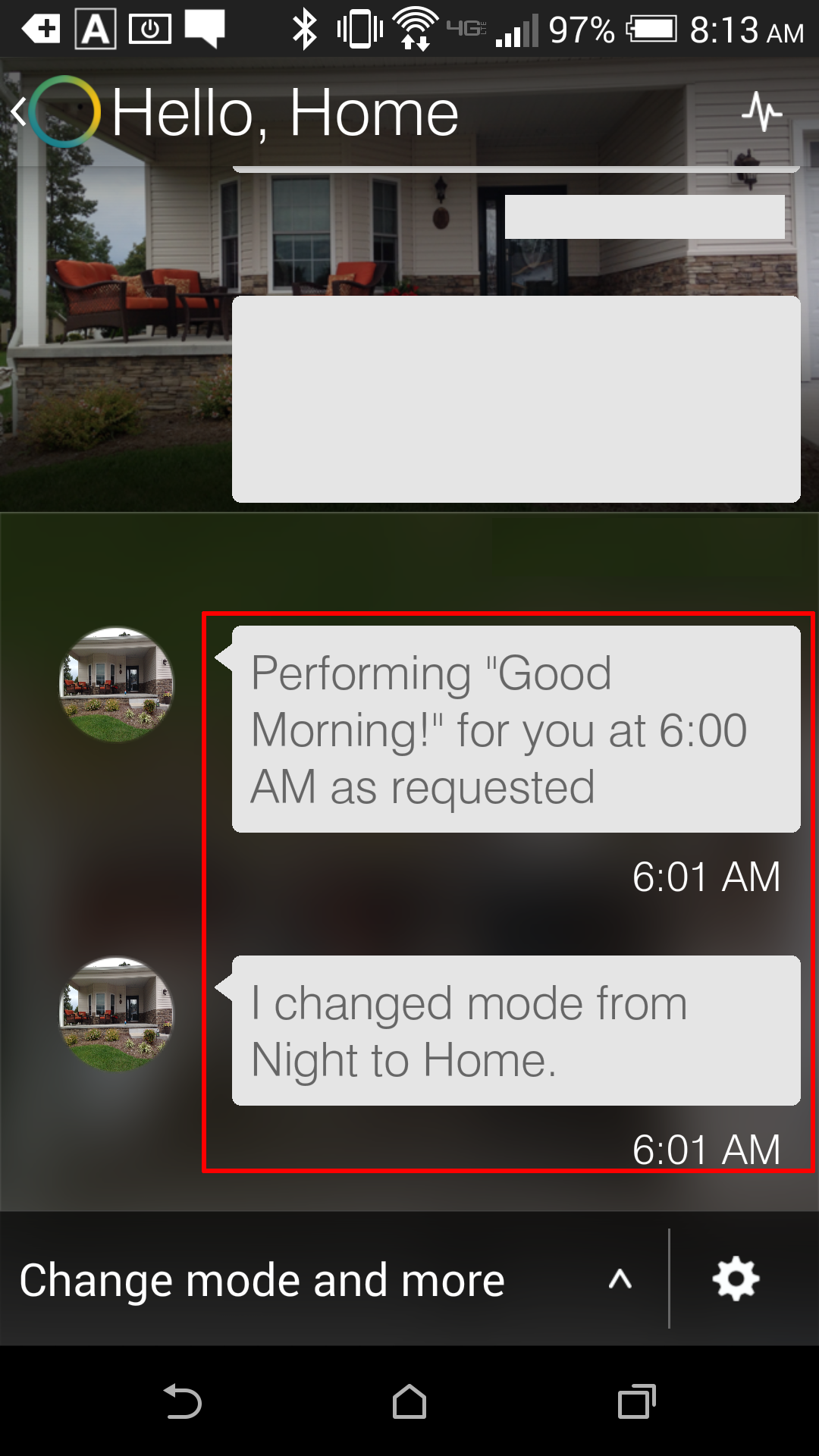 "Smartthings App - Activity Feed - This activity shows that at 6:01 am, the ""Good Morning"" feature fired, setting the home hub to ""Home"" (our Day) mode."