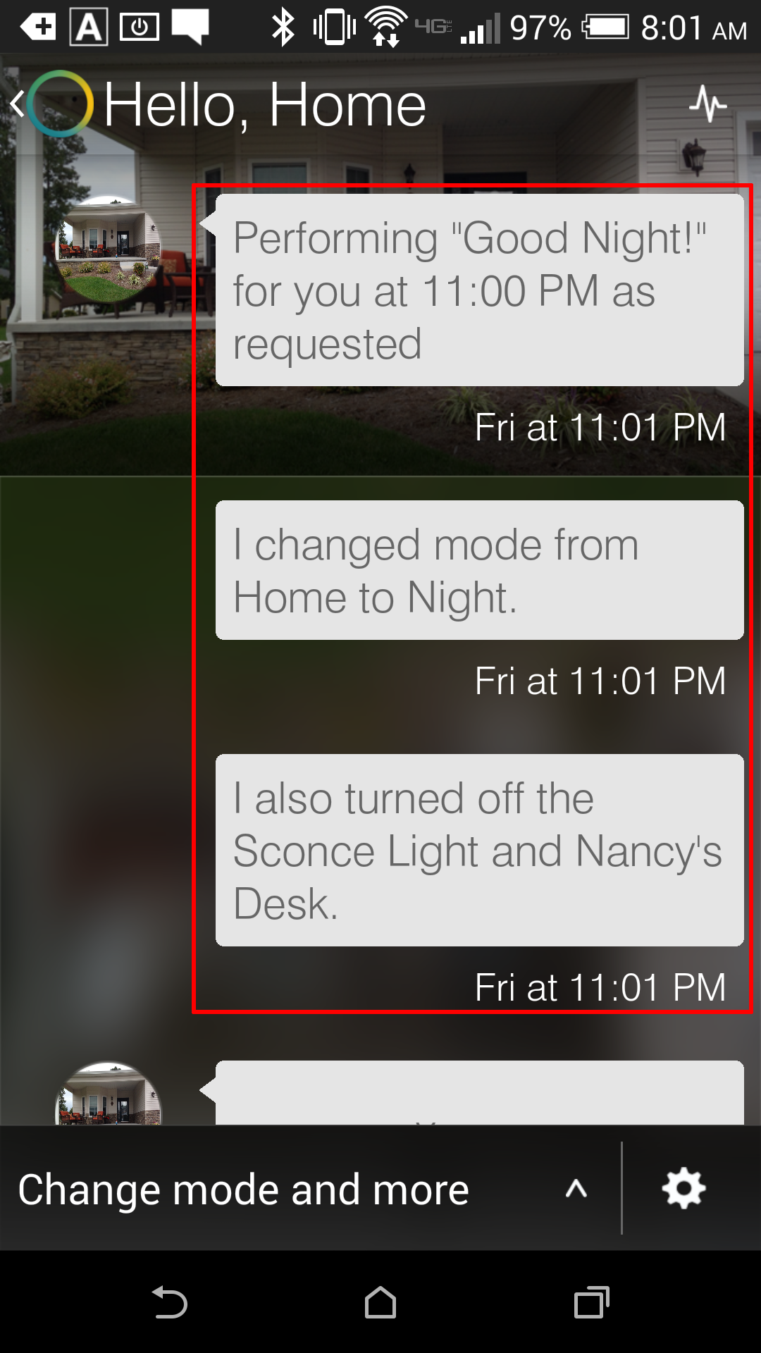 "Smartthings App - Activity Feed - This activity shows that at 11:01 pm, the ""Good Night"" feature fired, setting the home hub to ""Night"" mode.  It also sent Off commands to various lighting."