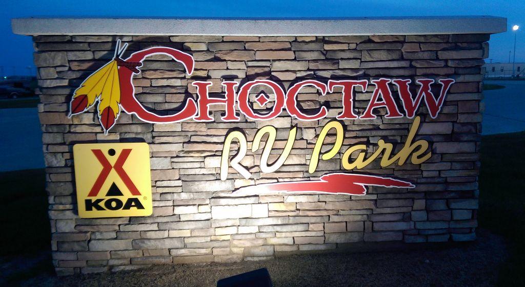 Choctaw RV Park Sign - taken one evening
