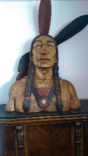 Wooden Indian Bust at Choctaw KOA