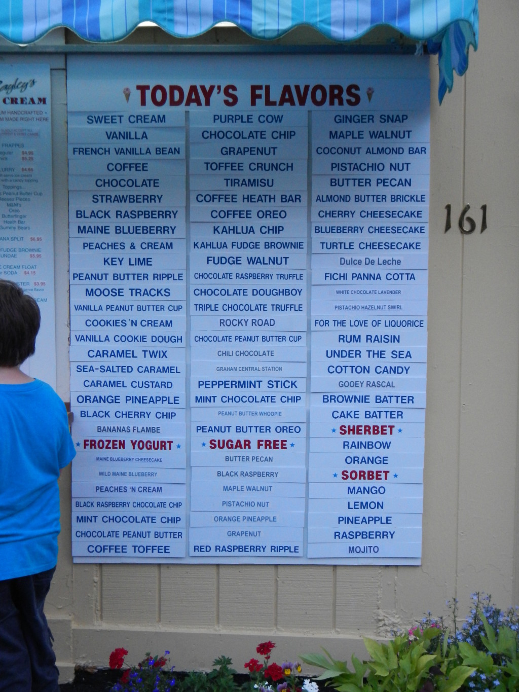 Maine - Pine Point - Bayley's Ice Cream. Look sat all these flavors.  Best ice cream we've had in New England yet!