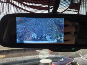 View of the bikes on the back of the RV from the backup camera.