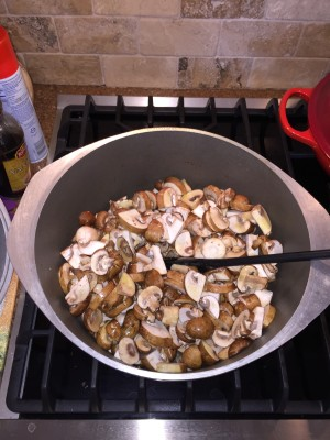 Mushrooms - Cooking down, covered for about 15 minutes, stirring every 5 minutes